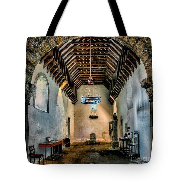 Priory Church of St Seiriol Tote Bag by Adrian Evans