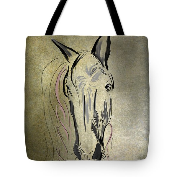 Profile Of A White Horse Tote Bag by Angela A Stanton