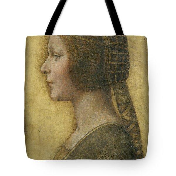 Profile Of A Young Fiancee Tote Bag by Leonardo Da Vinci