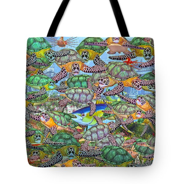 Protecting Mr. Bluefin  Tote Bag by Betsy C  Knapp