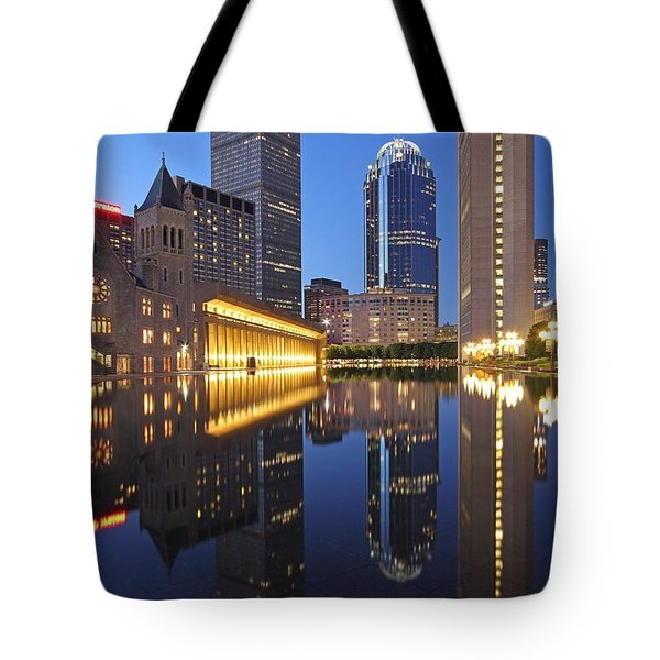 Prudential Center At Night Tote Bag by Juergen Roth
