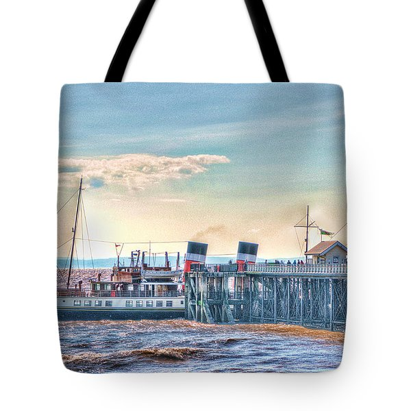 Ps Waverley At Penarth Pier Tote Bag by Steve Purnell