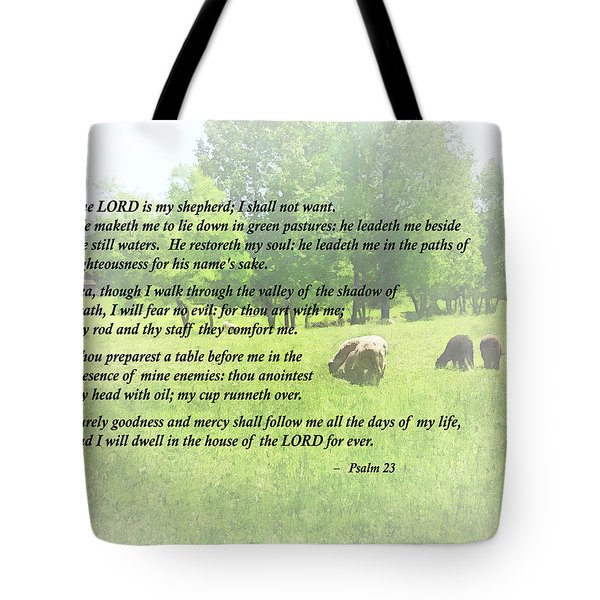 Psalm 23 The Lord Is My Shepherd Tote Bag by Susan Savad