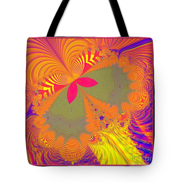 Psychedelic Butterfly Explosion Fractal 61 Tote Bag by Rose Santuci-Sofranko