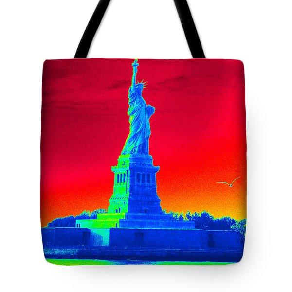 Psychedelic Liberty Tote Bag by Avis  Noelle