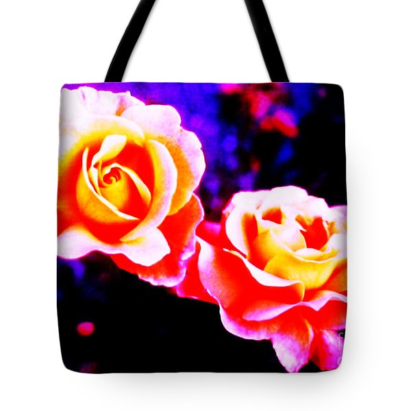 Psychedelic Roses Tote Bag by Martin Howard