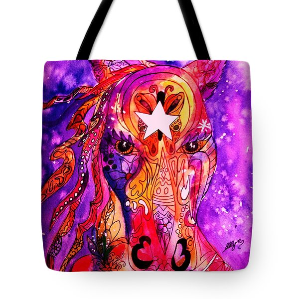 Psychedelic Tattooed Horse's Head Tote Bag by Ellen Levinson