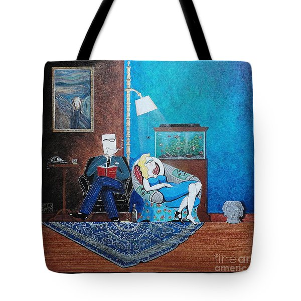 Psychiatrist Sitting In Chair Studying Spider's Reaction Tote Bag by John Lyes