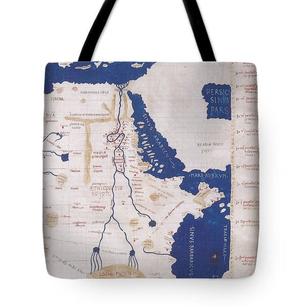 Ptolemys Map Of The Nile 2nd Century Tote Bag by Photo Researchers