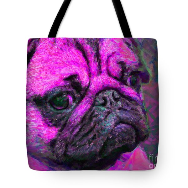 Pug 20130126v3 Tote Bag by Wingsdomain Art and Photography