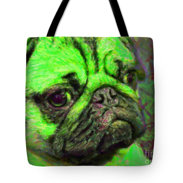 Pug 20130126v4 Tote Bag by Wingsdomain Art and Photography