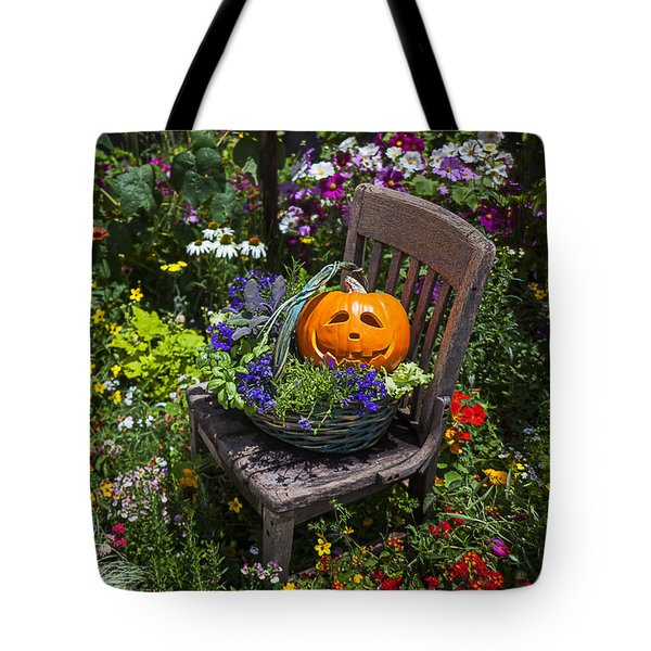 Pumpkin In Basket On Chair Tote Bag by Garry Gay