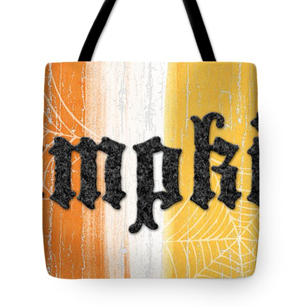 Pumpkins Sign Tote Bag by Linda Woods