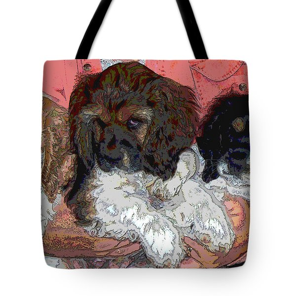 Puppy Love  Sugar         Little Bear And Peanut Tote Bag by Debbie Portwood