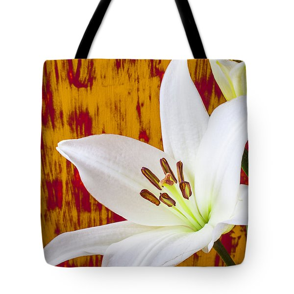 Pure White Lily Tote Bag by Garry Gay