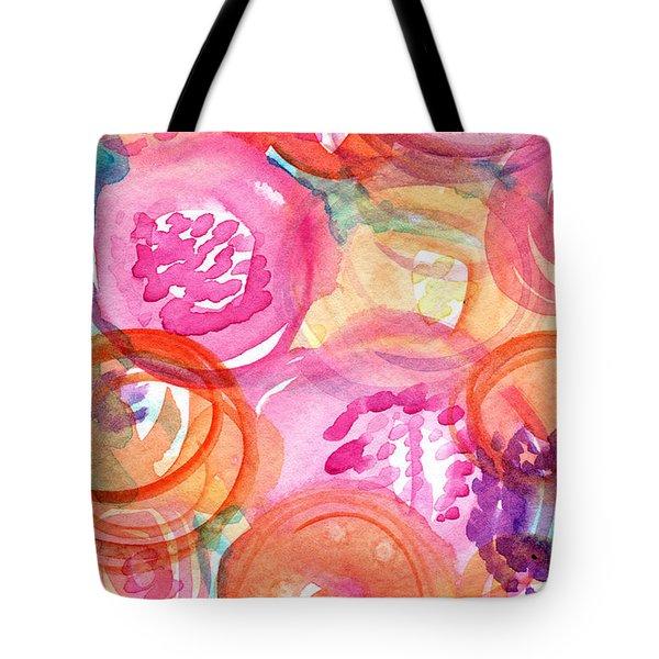 Purple And Orange Flowers Tote Bag by Linda Woods