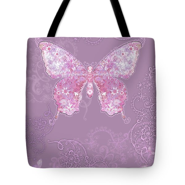 Purple Butterfly Floral Tote Bag by Alixandra Mullins