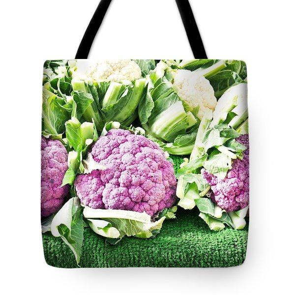 Purple Cauliflower Tote Bag by Tom Gowanlock