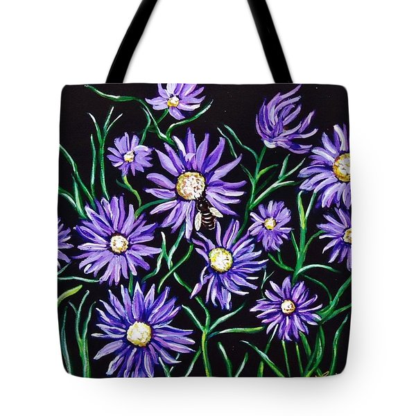Purple Daisies And Honey Bee Tote Bags - Purple Daises and honey bee ...