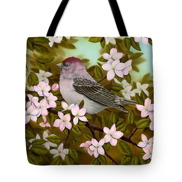Purple Finch Tote Bag by Rick Bainbridge