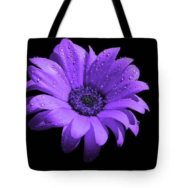Purple Flower With Rain Tote Bag by Bruce Nutting