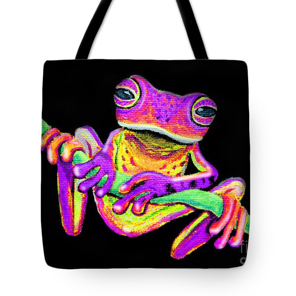 Purple Frog On A Vine Tote Bag by Nick Gustafson