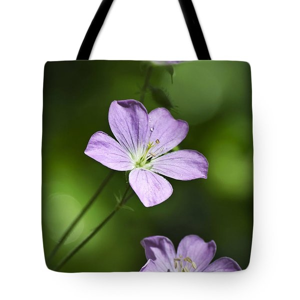 Purple Geranium Flowers Tote Bag by Christina Rollo