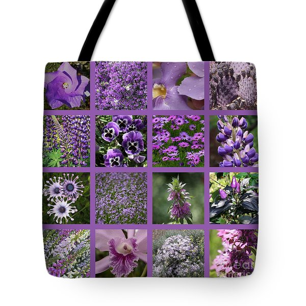 Purple In Nature Collage Tote Bag by Carol Groenen