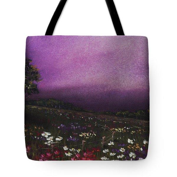 Purple Meadow Tote Bag by Anastasiya Malakhova