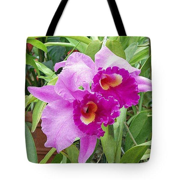 Purple Cattleya Orchids Tote Bag by Ellen Henneke
