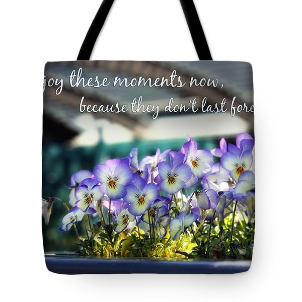 Purple Pansies and Life Quote Tote Bag by Nishanth Gopinathan