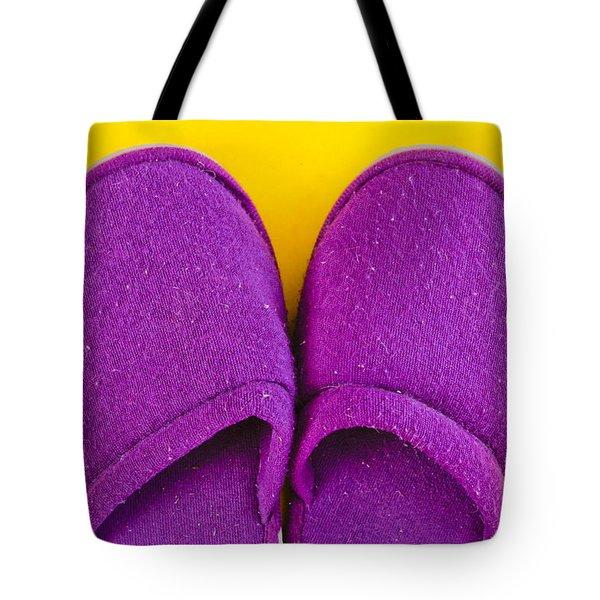 Purple slippers Tote Bag by Tom Gowanlock