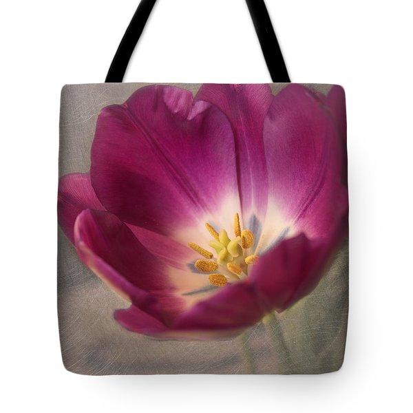 Purple Tulip Tote Bag by Kim Hojnacki