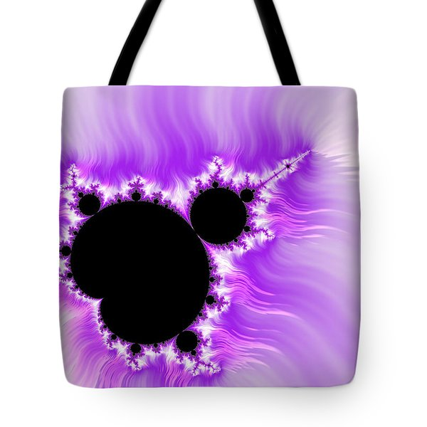 Purple white and black mandelbrot set digital art Tote Bag by Matthias Hauser