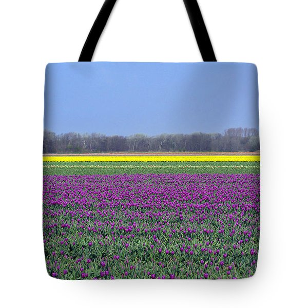 Purple With Golden Lining. Fields Of Tulips Series Tote Bag by Ausra Paulauskaite