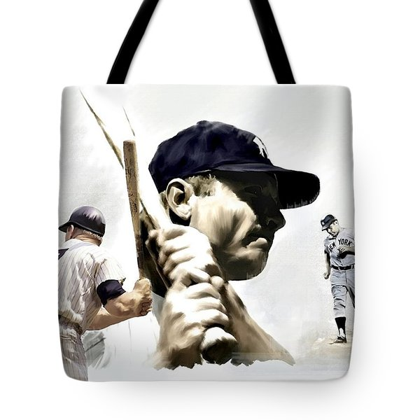 Quality Of Greatness Mickey Mantle Tote Bag by Iconic Images Art Gallery David Pucciarelli