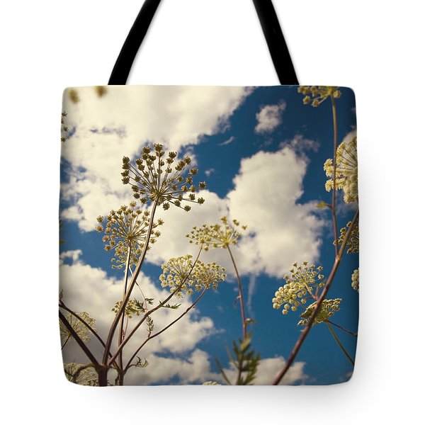 Queen Anne Lace and Sky I Tote Bag by Jenny Rainbow