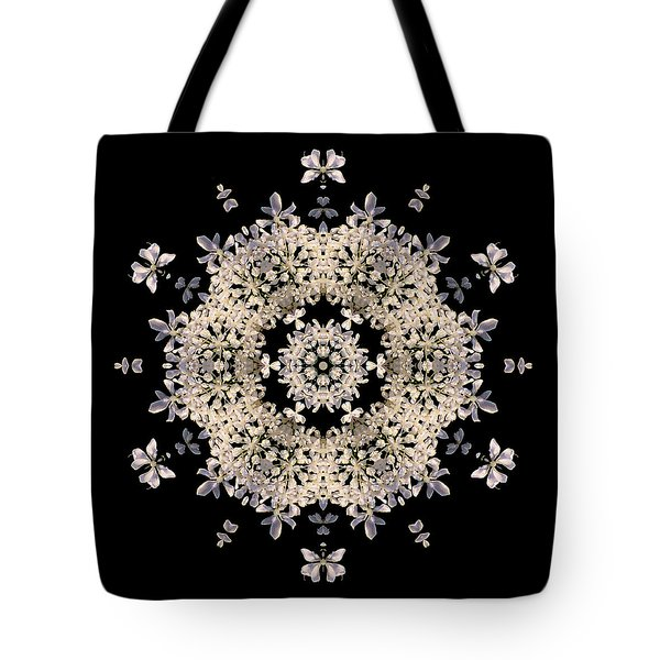 Queen Anne's Lace Flower Mandala Tote Bag by David J Bookbinder