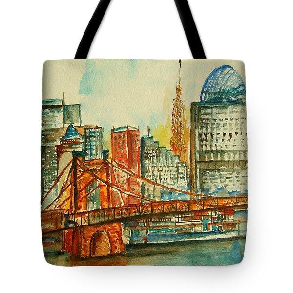 Queen City Skyline Cincinnati Oh Tote Bag by Elaine Duras