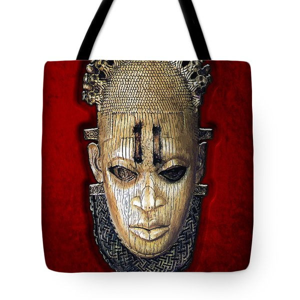 Queen Mother Idia - Ivory Hip Pendant Mask - Nigeria - Edo Peoples - Court of Benin on Red Velvet Tote Bag by Serge Averbukh