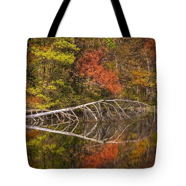 Quiet Waters In Autumn Tote Bag by Debra and Dave Vanderlaan