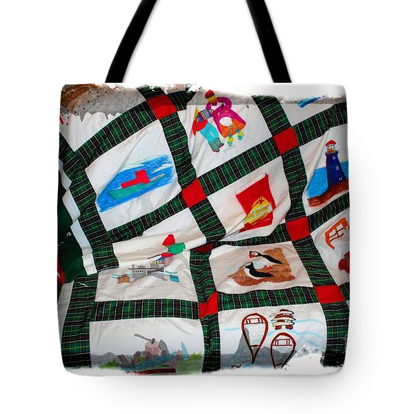 Quilt Newfoundland Tartan Red Posts Tote Bag by Barbara Griffin