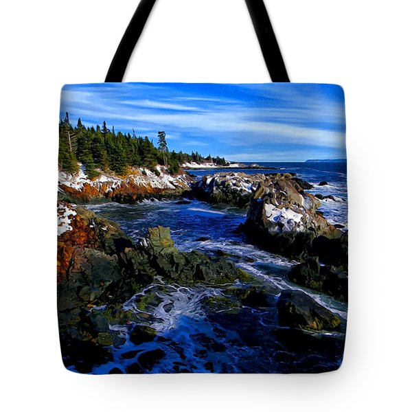 Quoddy Coast with Snow Tote Bag by Bill Caldwell -        ABeautifulSky Photography