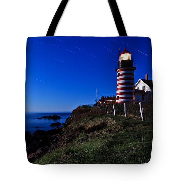 Quoddy Head by Moonlight Panorama Tote Bag by Bill Caldwell -        ABeautifulSky Photography