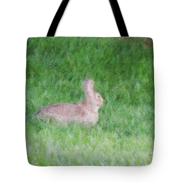 Rabbit In The Grass Tote Bag by Michael Stowers