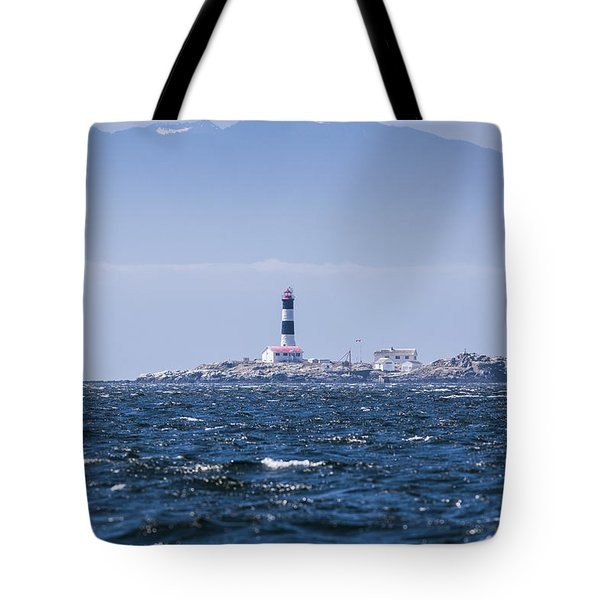 Race Rocks Lighthouse Is Situated Tote Bag by Debra Brash