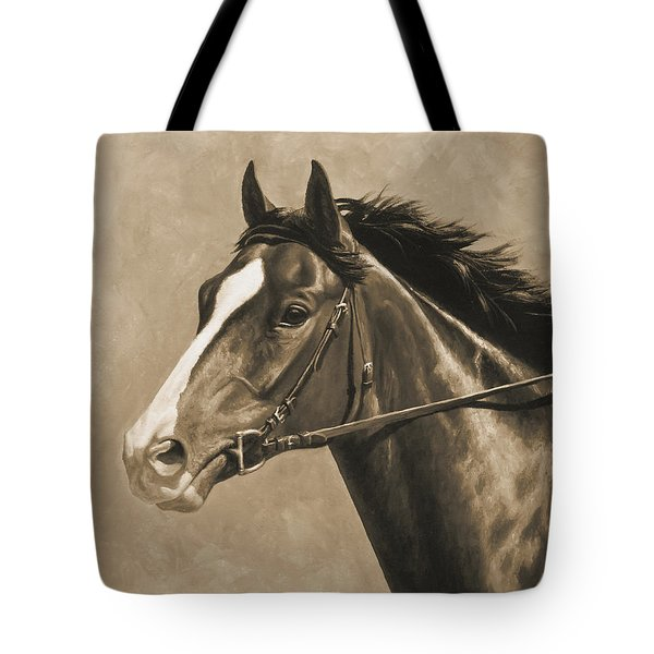 Racehorse Painting In Sepia Tote Bag by Crista Forest