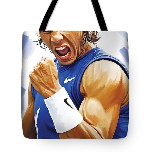 Rafael Nadal Artwork Tote Bag by Sheraz A