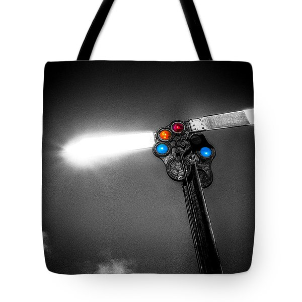 Railroad Signal Tote Bag by Bob Orsillo