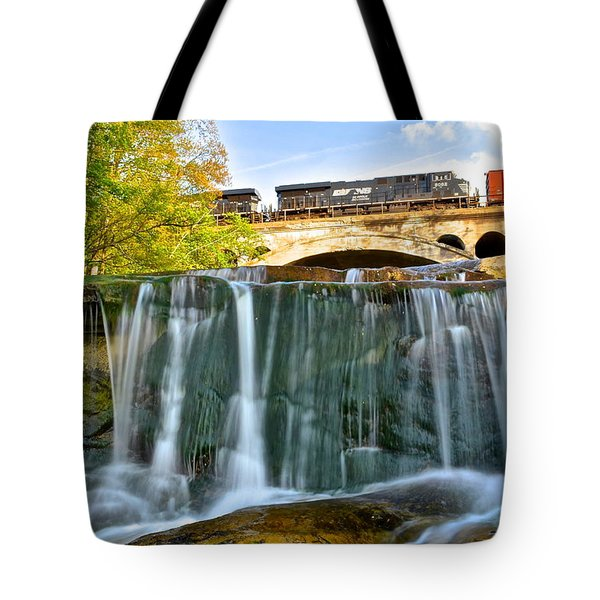 Railroad Waterfall Tote Bag by Frozen in Time Fine Art Photography